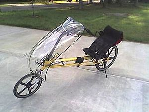 2d972774c A RANS V2 Formula long-wheelbase recumbent bike fitted with a front fairing