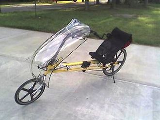 Recumbent bicycle - A RANS V2 Formula long-wheelbase recumbent bike fitted with a front fairing