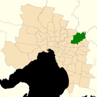 Electoral district of Warrandyte - Location of Warrandyte (dark green) in Greater Melbourne