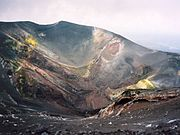 A crater near the Torre del Filosofo, about 450 metres below Etna's summit.