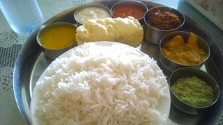 Thali Indian-style meal made up of various dishes which are served on a platter
