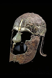 Colour photograph of the Vendel XIV helmet