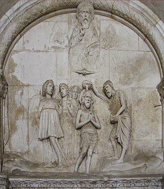 Albanians of Croatia - The relief of the entrance of the Cathedral of Trogir worked by Andrea Nikollë Aleksi.