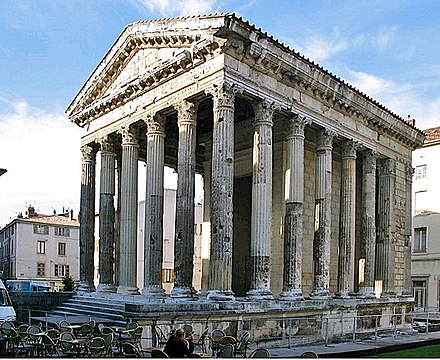 The Temple of Augustus and Livia in Vienne, late 1st century BC Vienne-RomanTemple2.JPG