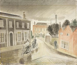Towner Gallery - Village Street by Eric Ravilious (1936) is in the gallery's collection