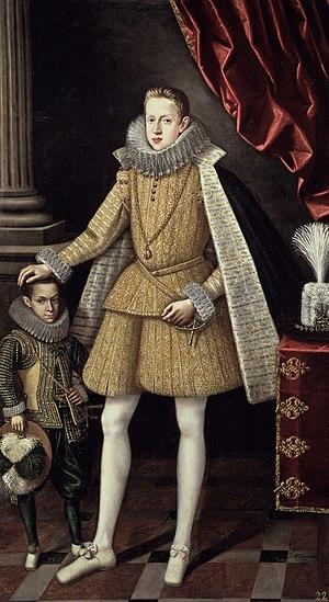 Rodrigo de Villandrando (painter) - Portrait of infante Felipe (future Phillip III) with dwarf Soplillo by Villandrando. 1620.