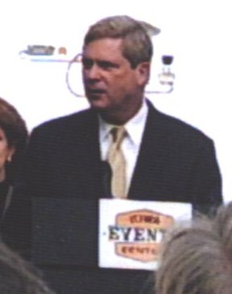 Iowa Events Center - Gov. Tom Vilsack speaks at the Wells Fargo Arena dedication ceremony on July 12, 2005.