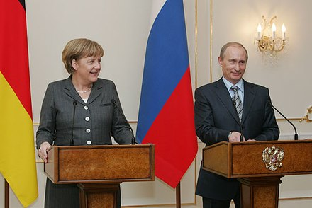 Putin with Chancellor of Germany Angela Merkel in March 2008 Vladimir Putin 8 March 2008-3.jpg