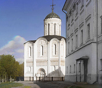 Vladimir, Russia - St. Demetrius' Cathedral, shown on this 1912 photo, is famous for its masterfully carved exterior, representing the Biblical story of King David.