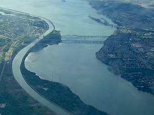 Saint Lawrence Seaway - Saint Lawrence Seaway separated navigation channel by Montreal.