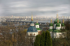 Vydubychi Monastery in Kyiv, April 2005.jpg