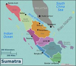 Sumatra travel guide at wikivoyage sumatra regions color coded map gumiabroncs Gallery
