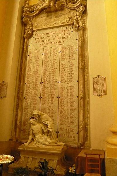 WWI memorial in  Église Saint-Jacques de Lunéville