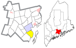 Location of Northport (in yellow) in Waldo County and the state of Maine