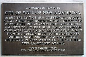 Fortifications of New Netherland - Image: Wall Street plaque