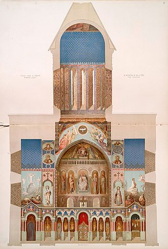 Tbilisi Sioni Cathedral - 19th-century sectional drawing showing Grigory Gagarin's frescoes