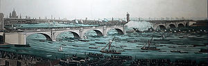 Waterloo Bridge - Crowds attend the opening of the first Waterloo Bridge on 18 June 1817