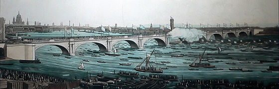 The opening of the first Waterloo Bridge on 18 June 1817 Waterloo Bridge 1817.jpg