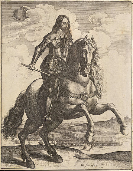 Charles depicted by Wenceslaus Hollar on horseback in front of his troops, 1644 Wenceslas Hollar - Charles I (State 3).jpg