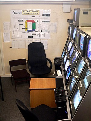 Football hooliganism in the United Kingdom - This picture shows the West Yorkshire Police control station's camera system at Elland Road, which they use to spot hooligans and rioters.