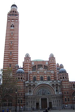 Westminster Cathedral front and tower.JPG
