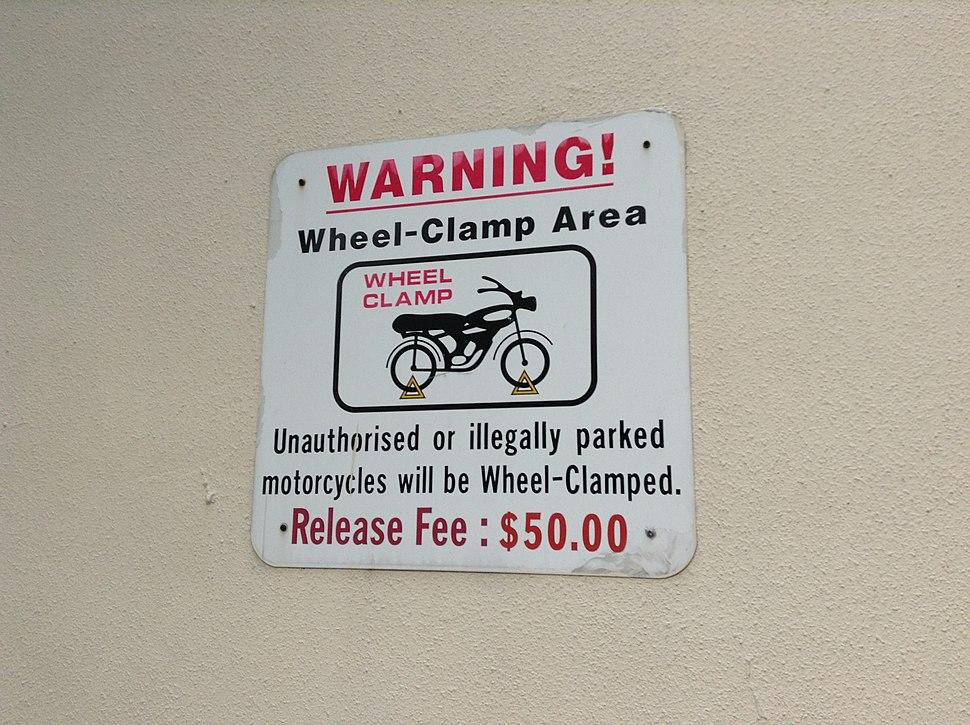 Wheel Clamp warning sign Singapore