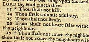 "Bible errata - The Wicked Bible renders Exodus 20:14 as ""thou shalt commit adultery""."