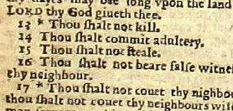 "Typographical error - A typographical omission of the word ""not"" in the sentence ""Thou shalt not commit adultery."" This 1631 printing of the Bible has become known as the Wicked Bible."