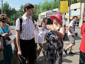 Wiki Party in Moscow 2013-05-18 (City tour; Krassotkin; 01).JPG