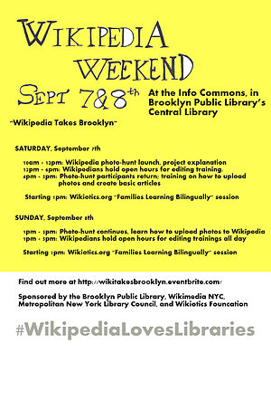 Wikipedia Takes Brooklyn Poster, Wikipedia Loves Libraries.jpg