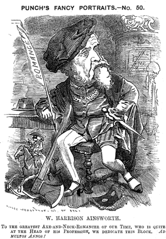 William Harrison Ainsworth - Caricature from Punch, 1881