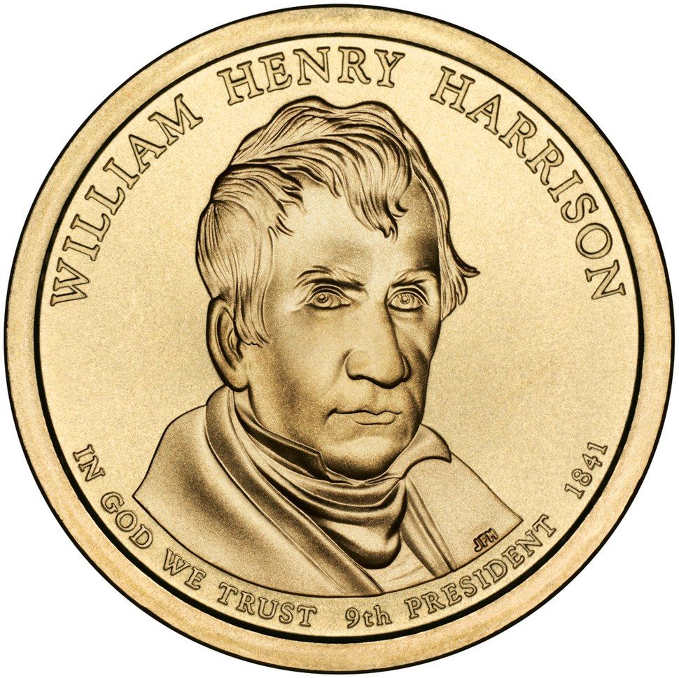 William Henry Harrison Presidential $1 Coin obverse