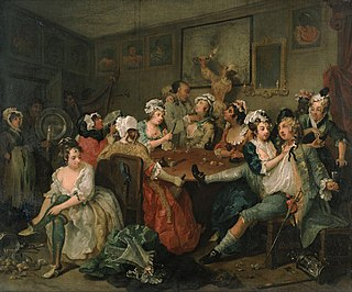 <i>A Rakes Progress, 3: The Tavern Scene</i> Painting by William Hogarth from the series A Rakes Progress