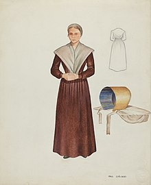 Women in brown dress with apron