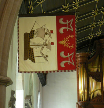 Garter banner of Harold Wilson in the chapel at Jesus College, Oxford, where he studied Modern History Wilson banner.jpg