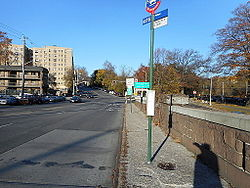 A bus stop along Webster Avenue