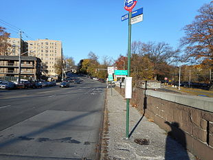 A bus stop along Webster Avenue