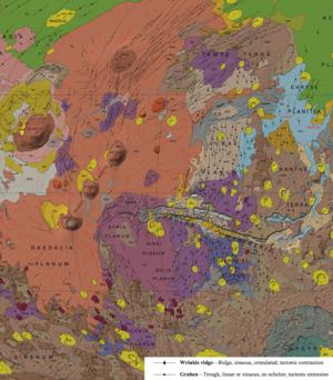 Tectonics of Mars - Image: Wrinkle Ridges And Grabens Mars
