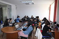 Students from Brusov State University during in the office of Wikimedia Armenia