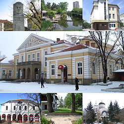 Top left:Statue of George Sheytanov, Top middle:Tundzha River, Top right:Georgi Rakovski Library in Osvobozhdenie Square, Center:Saglasie Community Hall, Bottom left:Yambol Saint George Orthodox Church, Bottom middle:Ormana Park, Bottom right:Saint Nikolay Church of Yambol