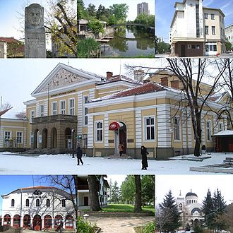 Yambol - Top left:Statue of George Sheytanov, Top middle:Tundzha River, Top right:Georgi Rakovski Library in Osvobozhdenie Square, Center:Saglasie Community Hall, Bottom left:Yambol Saint George Orthodox Church, Bottom middle:Ormana Park, Bottom right:Saint Nikolay Church of Yambol