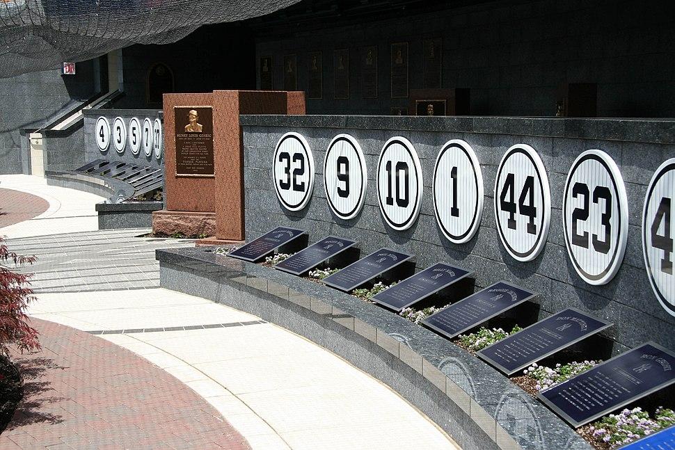 Yankees retired numb monument park