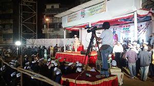 Yogendra Yadav - Yogendra Yadav addressing a rally in Mumbai.