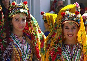 Bulgarian women in traditional folk attire