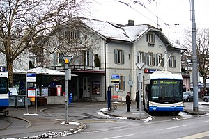 Trolleybuses in Zürich - A Swisstrolley 3 at Tiefenbrunnen.