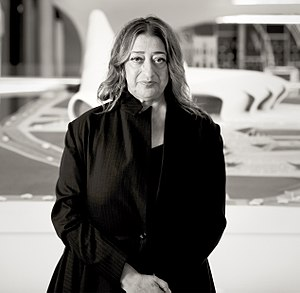 Zaha Hadid in Heydar Aliyev Cultural center in Baku nov 2013.jpg