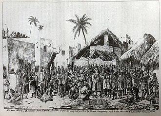 Slave market - Zanzibar slave market in 1860, by Edwin Stocqueler