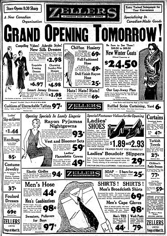 Zellers - Zellers advertisement in the Toronto Star for its 1931 grand opening in Toronto. The announced location later became part of the Toronto Eaton Centre.