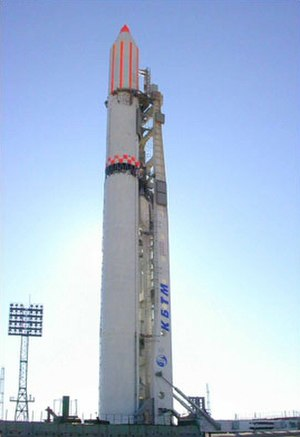 Yuzhmash - Zenit-2 rocket ready for launch at Baikonur.