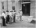 """""""(Army Air Corps) cadets reporting to Captain B(enjamin) O. Davis, Jr. commandant of cadets."""", 09-1941 - NARA - 531133.tif"""